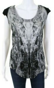 BNWOT HELMUT LANG abstract graphic print cap sleeves long silk jersey top szS