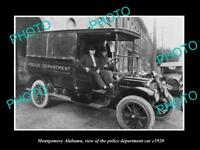 OLD LARGE HISTORIC PHOTO OF MONTGOMERY ALABAMA THE POLICE DEPARTMENT CAR c1920