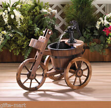 old fashioned water PUMP Wine Barrel TRICYCLE Outdoor Patio Fountain planter