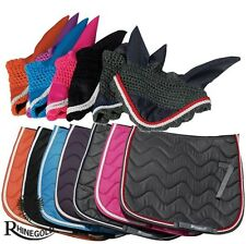* Neuf * Rhinegold Elite Wave saddlepad/Fly Veil Set-S/N – jean/velours rouge