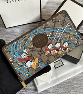 New Disney x Gucci Donald Duck Zip Around Wallet For Women