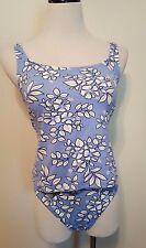 Jantzen  Blue & White Floral Tankini Bottom & Top Built In Bra Sz M