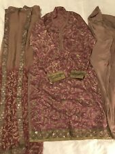 Tea Pink And Olive Green Self Design Printed Silk 3pc Shalwar Suit