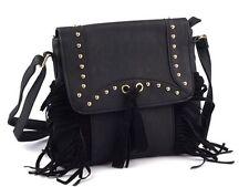 Handtasche Schultertasche Umhängetasche 24x26 cm mit Fransen und Nieten