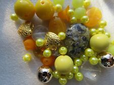 50 Beads Yellow Big Large Chunky Mix Sizes 6 - 40mm For Jewellery Making