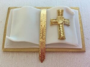 HANDMADE Bible cake topper - GOLD and white