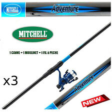 canne a peche MITCHELL truite Telescopique Mer + moulinet + fil - LOT x3