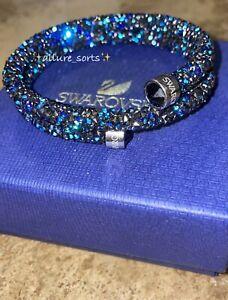*SWAROVSKI* Crystal Dust Double Jet Blue Stainless Steel Bangle Bracelet Medium