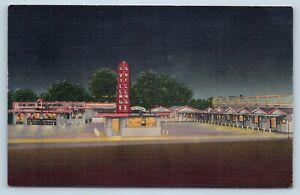 Postcard NM Clovis The Village at Night Vintage Linen Restaurant Photo Stand L20