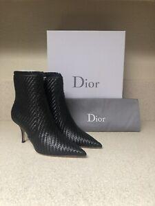Dior District Wovem Lambskin Heeled Boot Black 38 / 8