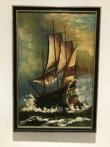 Vintage Oil Painting on Canvas Seascape Galleon Ship In Full Sail - Signed
