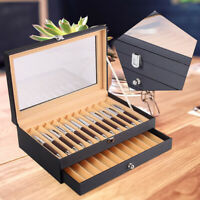 24 Fountain Pen Leather Display Case Holder Organizer Storage Collector Box TOP