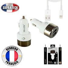 Chargeur Voiture Blanc Allume Cigare Double USB Connecteur Lightning 2.4A 12-24V