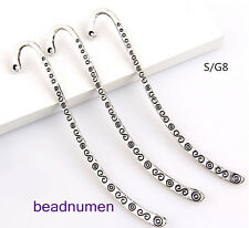 "Wholesale 50PCS Tibet Silver Hook Retro Circle&""S"" Pattern Bookmarks 85*4mm S/G8"