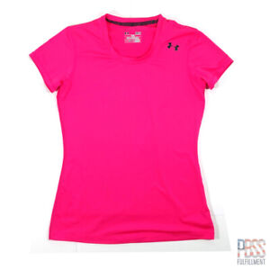 Under Armour Heat Gear Womens S Short Sleeve V-Neck Polyester Shirt Fitted Pink