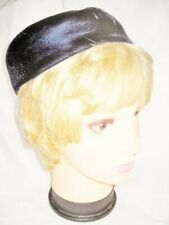 Vintage Hat Navy Blue Velvet Small Pillbox Button On Top Woman Lady Millinery