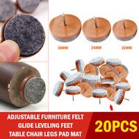 20pcs Felt Feet Pad Skid Glide Furniture Nail Floor Table Chair Protector Leg