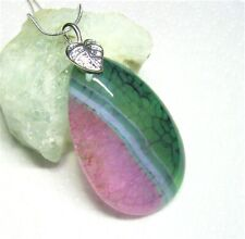 Natural Green and Pink Dragon Vein Agate Gemstone Pendant - Handmade