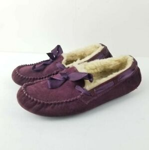 UGG Dakota Women's Leather Bow (Port) Moccasin Shoes Size 7 Shearling Slippers