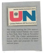 Vintage 6 cent stamp: United Nations 25th Anniv- November 20, 1970, New York, NY