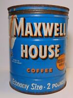 Large Vintage 1950s Maxwell House KEYWIND COFFEE TIN 2 POUND Hoboken New Jersey