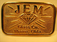 BRASS Belt Buckle JEM GLASS CO. Moore, Okla by HIT LINE USA [Y95n]
