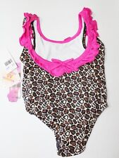 NEW Pink Platinum Girl's Cheetah Swimsuit -Brown Multicolor - Size 4