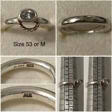 PANDORA SILVER & 14ct GOLD HALO RING SIZE 53 UK M - N 190830CZ DISCONTINUED