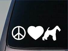 "Peace love Fox terrier sticker *H125* 8"" vinyl wirehaired smooth"
