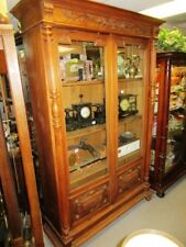 19Th Century French Walnut Carved & Column Double Door Bookcase