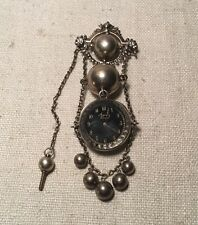 Antique Victorian Sterling Silver Agassiz Geneva Watch Chatelaine Pin