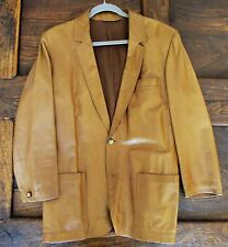 Vintage Men's Genuine LOEWE Brown Leather Jacket 2 Buttons Size 52 Spain 42 US L