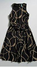 LAUREN Ralph Lauren Equestrian Chain Bridle Belted Jersey Midi Dress 8