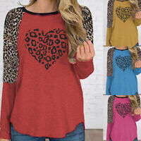 Women Long Sleeve T-Shirt Tops Ladies Leopard Print Loose Casual Blouse Pullover