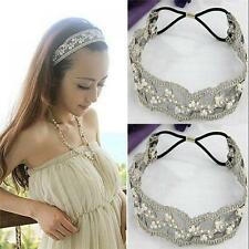 Women Lace Beauty Faux Pearl Bohemian Hair Accessories Hairband Lace Headband