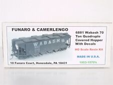 Funaro & Camerlengo 6881 HO Resin Kit 70ton Quadruple Covered Hopper Wabash WAB