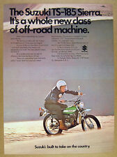 1971 Suzuki TS-185 SIERRA motorcycle photo vintage print Ad