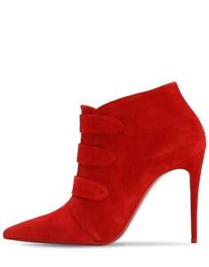 Christian Louboutin TRINIBOOT 100 Suede Ankle Boots Heels Booties Red $1095