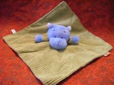 "TJM LITTLE SAFARI GREEN AND BLUE HIPPO COMFORTER BABY BLANKIE 13"" APPROX  (B79)"