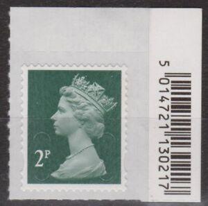 z4353) Great Britain - Machins. 2016 MNH SG u2921 2p Dark green M16L Barcode Tab