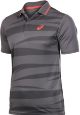 Asics Men's Polo Shirt Club Graphic Short Sleeve Tennis Polo - Grey - New