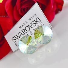 925 SILVER EARRINGS 12MM RIVOLI CHRYSOLITE MOONLIGHT CRYSTALS FROM SWAROVSKI®