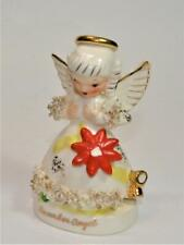 "Vintag 50s NAPCO Porcelain DECEMBER ANGEL with POINSETTIA 4 1/4""h Figurine S1372"