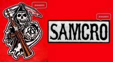 SET OF 2 REAPER & SAMCRO PATCHES  JACKET  VEST  HAT BIKER ROADGEAR - IRON OR SEW