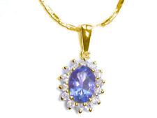 1,14 ct Tanzanite & Collana Diamante in 18K & 14K Oro Giallo