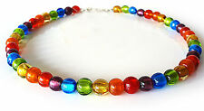 A Sign *Sparkling Rainbow* Kette/Halskette Regenbogen Murano-Art Glas Perlen