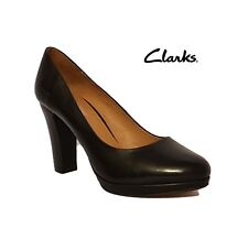 Clarks Softwear Abby Black Leather High Heels Court Shoes Ladies Uk Size 7.5 D