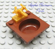 NEW Lego Belville Minifig Reddish Brown Bathroom SINK & GOLD FAUCET /Basin & Tap