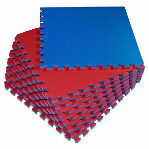 8x EVA-Bodenschutzmatte dick Blau-Rot 58x58x2 Bodenmatte Puzzle Matte Fitness B