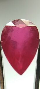 Pigeon Blood Red Ruby 1.59ct Pear 9mm x 6mm x 3.5mm, Birefringence, 3.97 SG